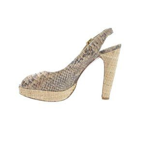 STUART WEITZMAN FOR SCOOP Tan Snakeskin Sandals